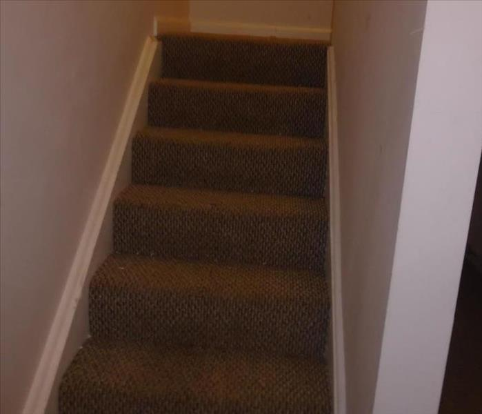 wet carpet on stairs