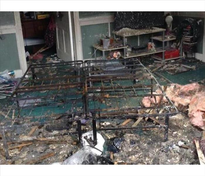 Fire Damage in an Alpharetta Bedroom
